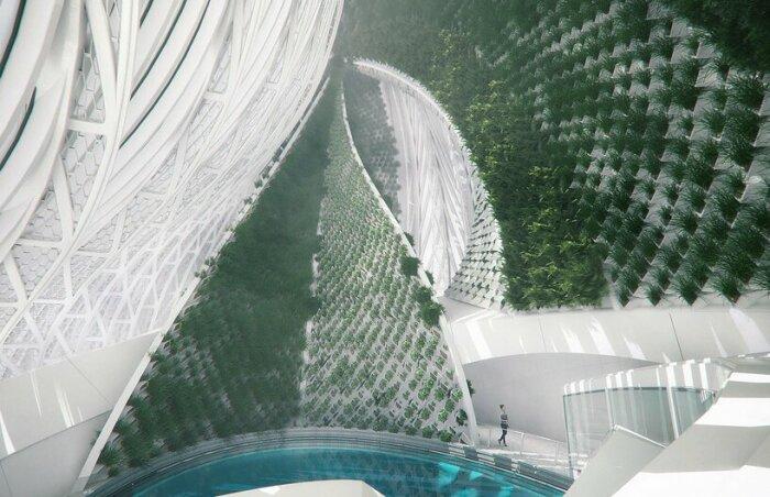 На плавучей исследовательской станции предусмотрены и эффектные оранжереи (концепт 8th Continent). | Фото: mymodernmet.com.