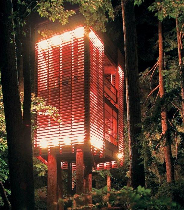 Двухуровневый домик на дереве создан из экологически чистых и натуральных стройматериалов («4TreeHouse», Канада). | Фото: photoblog.org.ua.
