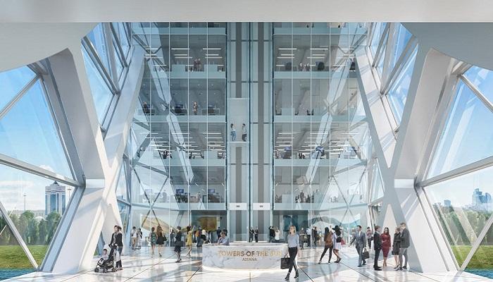 Множество треугольных элементов в конструкции и интерьерах комплекса созданы на основе культурных казахских идей и традиций. | Фото: newatlas.com.