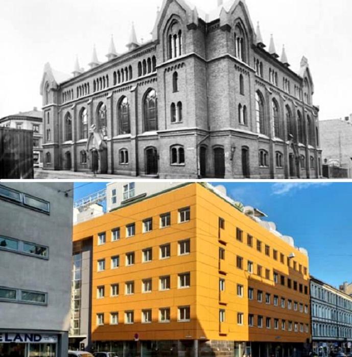 В 1970-х гг. старинное здание превратилось в безликую коробку (Осло, Норвегия). | Фото: awesomeinventions.com.