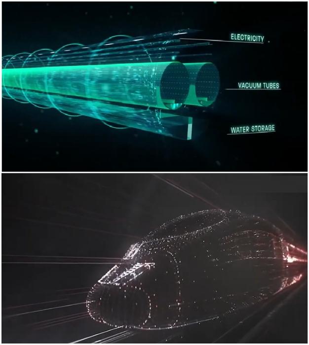 Движение капсулы возможно благодаря созданию туннелей с безвоздушным пространством и магнитной левитации (концепт HyperloopTT).