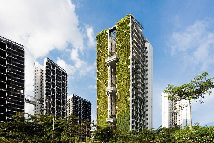 Благодаря «живому» фасаду только на электроэнергии экономят больше 400 тыс. дол. в год («Tree House», Сингапур). | Фото: channelnewsasia.com/ © Finbarr Fallon.