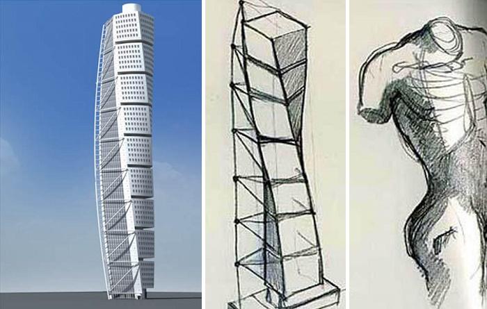 Скульптура Сантьяго Калатравы – Turning Torso вдохновила на создание динамичного небоскреба (Мальмё, Швеция).