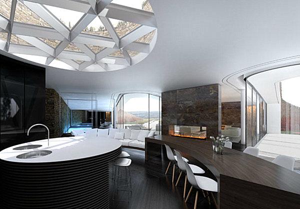 Интерьер одной из четырех комнат подземного «дома будущего» (Bolton Eco House, Великобритания). | Фото: designerdreamhomes.ru.