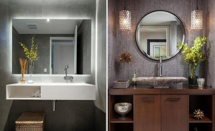 Зеркало нужно повесить выше и меньшего размера.