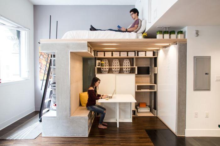 Если позволяют потолки, можно организовать на одной площади несколько функциональных зон. | Фото: effectivehouse.com.