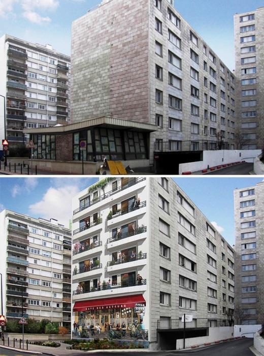 Торцевые стены современных многоэтажных домов тоже обрели новых «жильцов» (Patrick Commecy & A.Fresco).   Фото: mymodernmet.com.