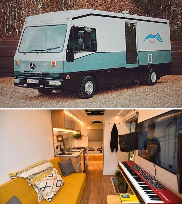 Музыканты сами переоснастили свой фургон и собираются в турне. | Фото: boredpanda.com.