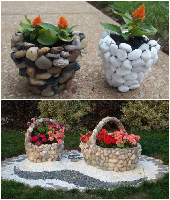 Садовые вазоны можно сделать из натуральных камней.