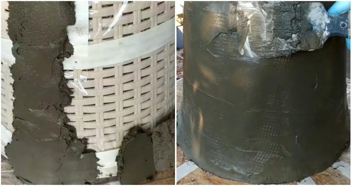 Чтобы получился равномерный слой бетона на стенках формы, раствор лучше наносить полосками.