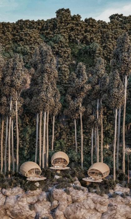 Номера-коконы Cabins On The Mountain эффектно смотрятся на склоне горы среди валунов и деревьев (концепт студии Veliz Arquitecto).   Фото: mymodernmet.com.