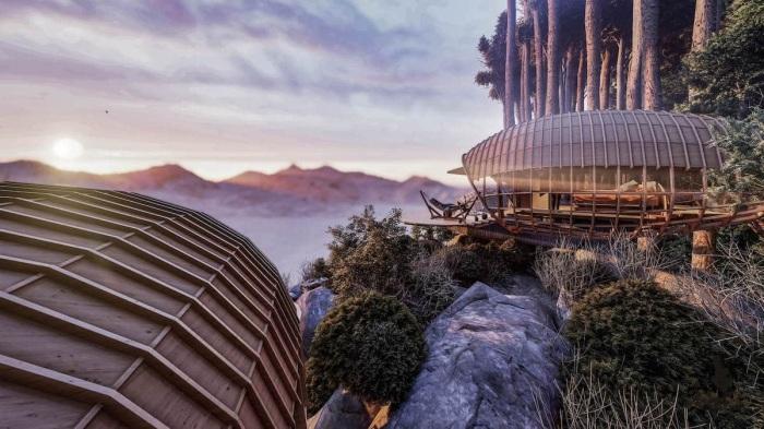 Из горных хижин и балконов открывается восхитительный вид на лес и долину (концепт Cabins On The Mountain).   Фото: designboom.com.