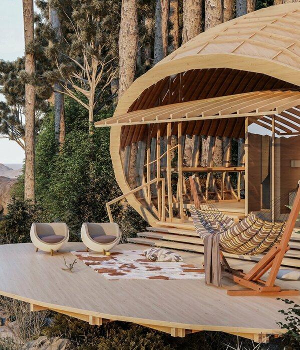 На выступающем балконе можно организовать идеальную зону отдыха (концепт Cabins On The Mountain).   Фото: mymodernmet.com.