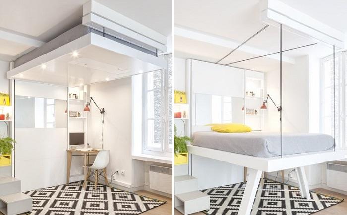 В комнате подростка или одинокого человека кровать можно спрятать и под потолком. | Фото: decoracionsueca.com.