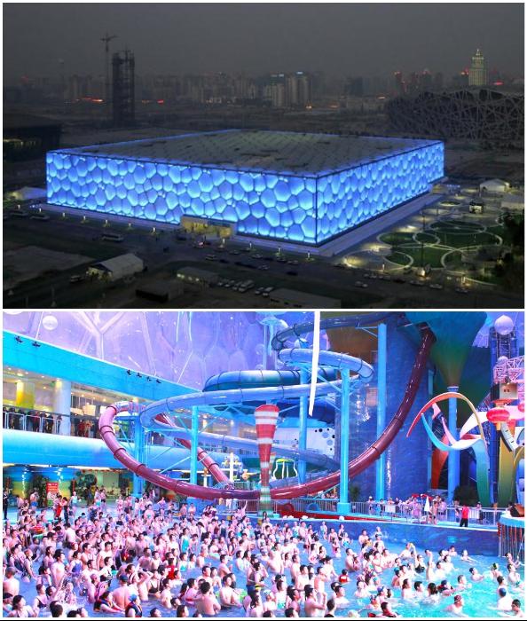Водный парк National Aquatics Center, открывшийся на олимпийской спортивной арене, стал одним из самых популярных мест Китая (Пекин).