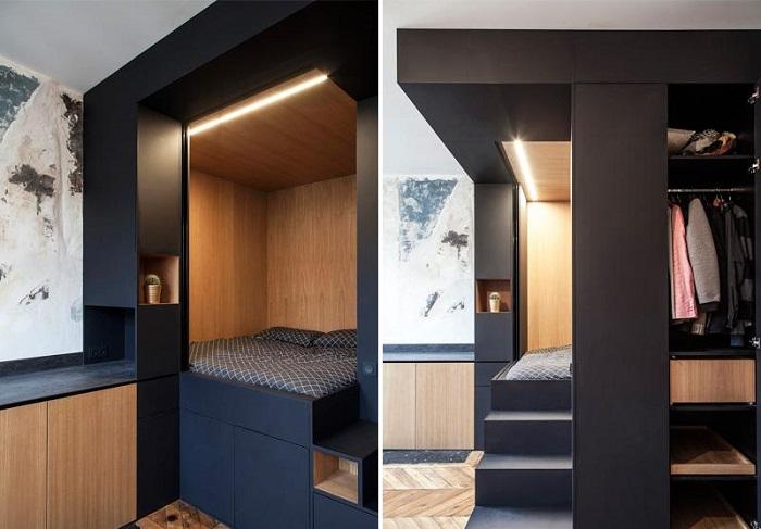 Встроенная спальня (с гардеробной и кладовкой) помогла высвободить много полезной площади (Проект Batiik Studio). | Фото: unwonted.ru.