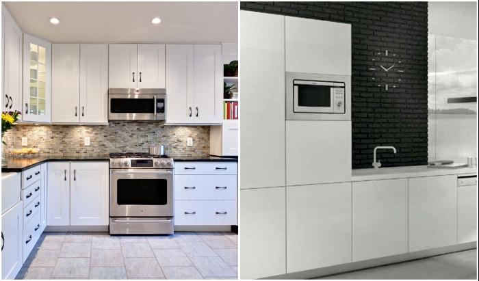 Микроволновую печь не стоит встраивать в мебельный гарнитур, особенно под потолком.