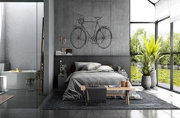 Можно оформить спальню так.