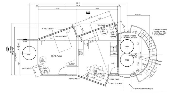 План основного дома, расположенного на ветвях деревьев (Yoki Treehouse).