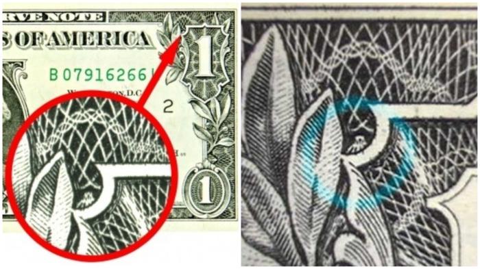 Загадочный паучок на купюре в 1 доллар.