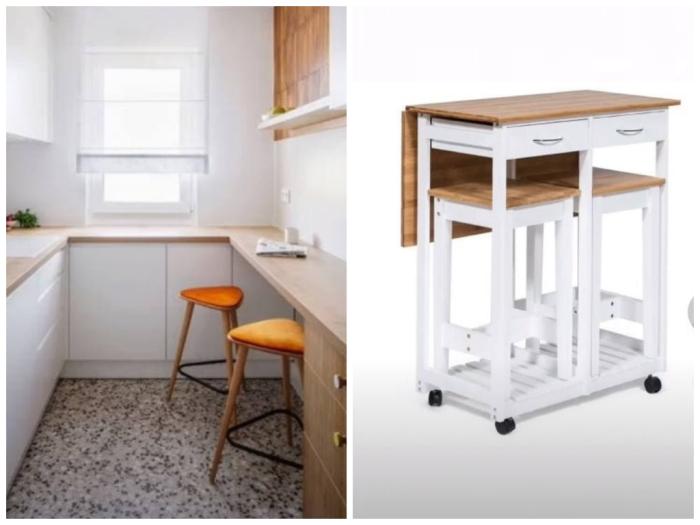 Столы-барные стойки для маленькой кухни: статичные и на колёсиках.