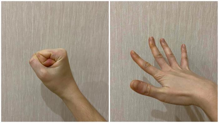 Чередуем 20 быстрых сжатий-разжатий кулака с напряжением распахнутой кисти на 7 секунд, повторяем.