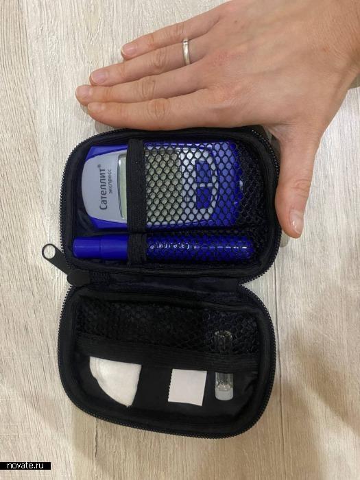 Портативный глюкометр весит 100 граммов.
