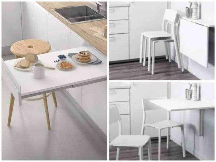Откидные и выдвижные столы для маленькой кухни в студио.