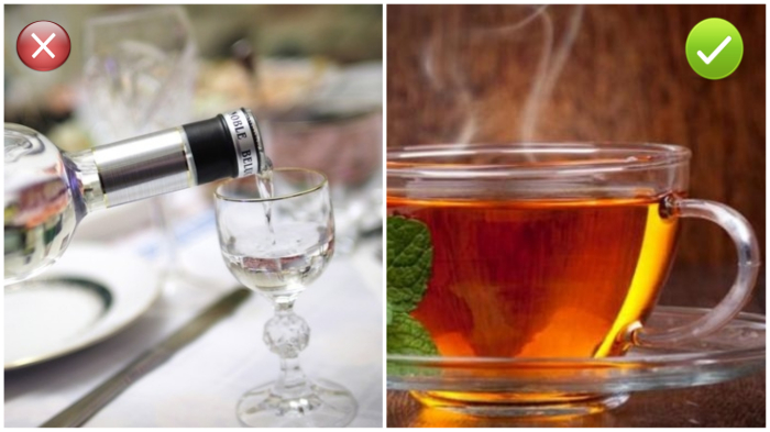 Чай, а не алкоголь от простуды.