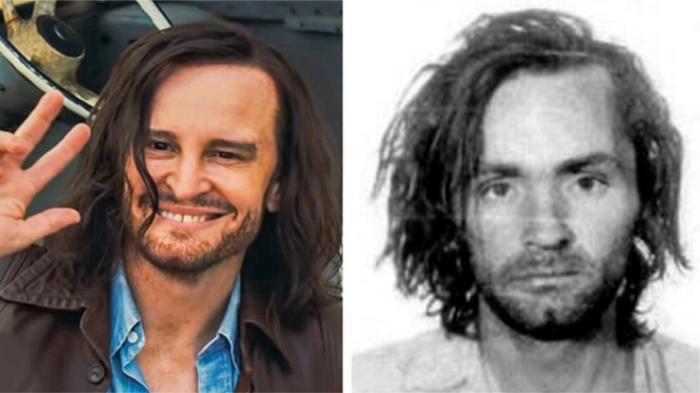 Слева сыгравший в крохотном эпизоде Менсона актер, справа - реальный Чарльз Менсон. / Фото: sonypictures.com
