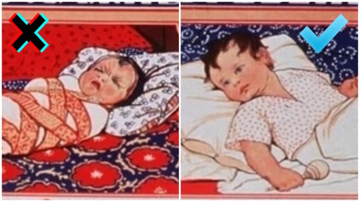 Еще сто лет назад знали, что вредно пеленать ребенка.