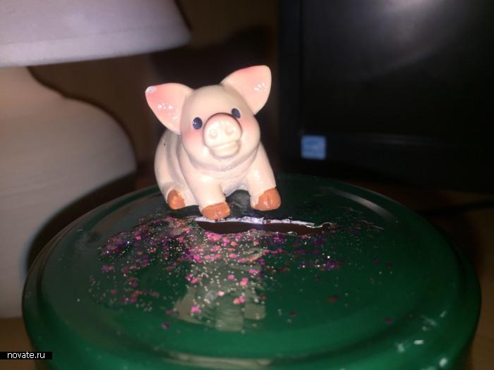 Свинка охраняет сбережения.