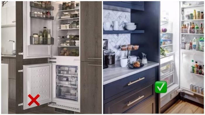 Холодильник должен открываться в соответствии с расположением кухонных секций.