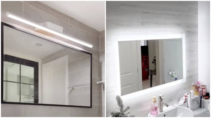 Подсветка зеркала в ванной комнате.
