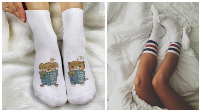 Перед сном нужно смазать ножки кремом и надеть носочки.