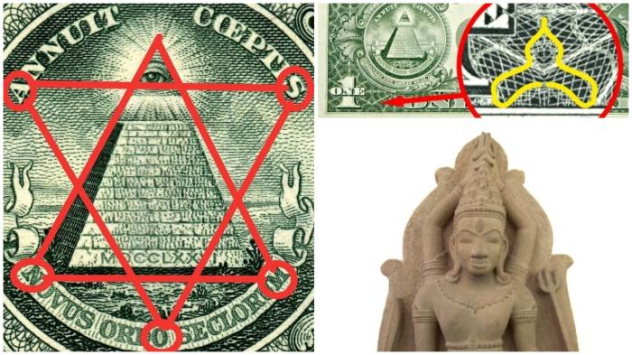 Слово MASON и индуистский бог Шива на долларе.