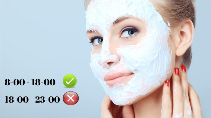 Применение масок для лица вечером приводит к отекам.