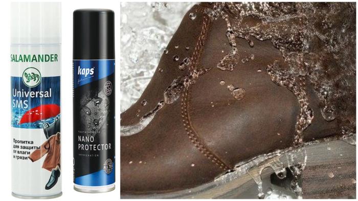 С обуви, пропитанной специальным средством, вода «скатывается».