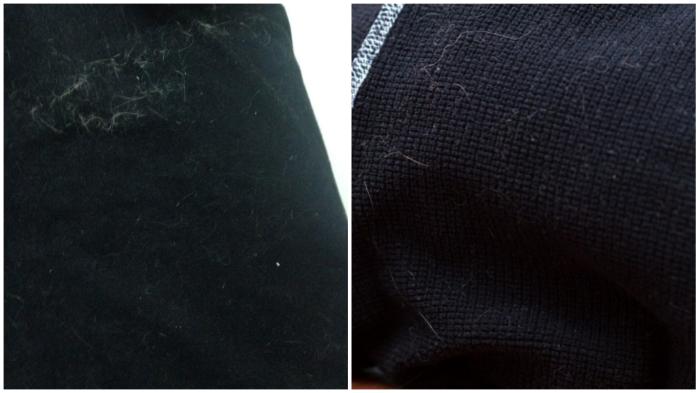 Тёмная одежда порой выглядит неопрятно из-за налипшего ворса и пыли.