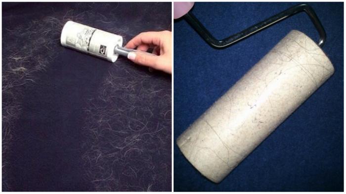 Ролл-щётка с липким слоем мгновенно собирает шерсть, ворс и пыль и возвращает одежде опрятный вид.