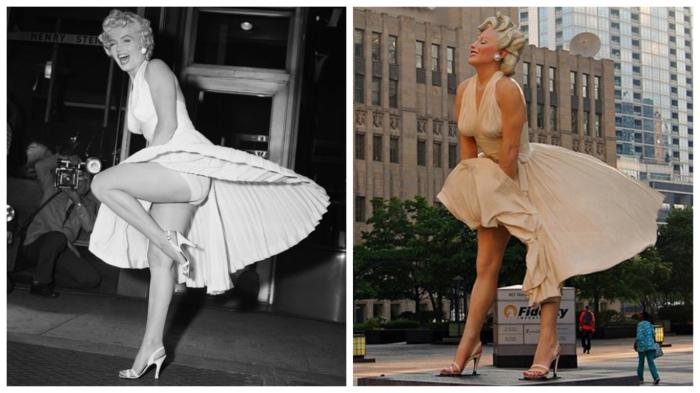 Культовая сцена из фильма Билли Уайлдера (1955 год) и скульптура «Мэрилин навсегда» (2011 год).
