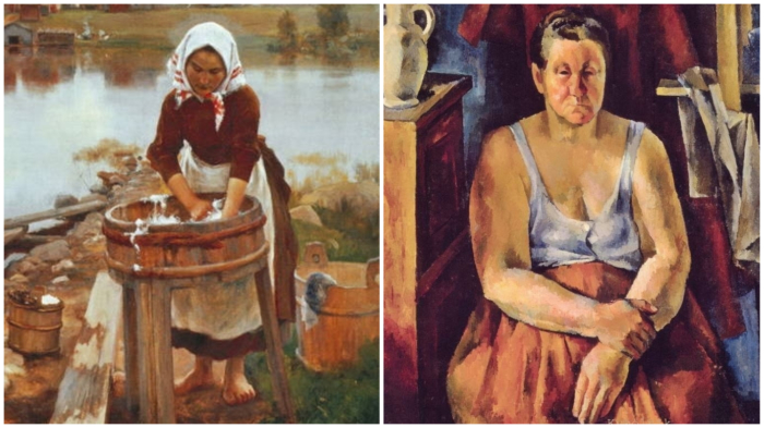 Живописцы подтверждают: «бабу постарила» стирка... (Э. Н. Ярнефельт «День стирки»; А. А. Осмеркин «Прачка»)
