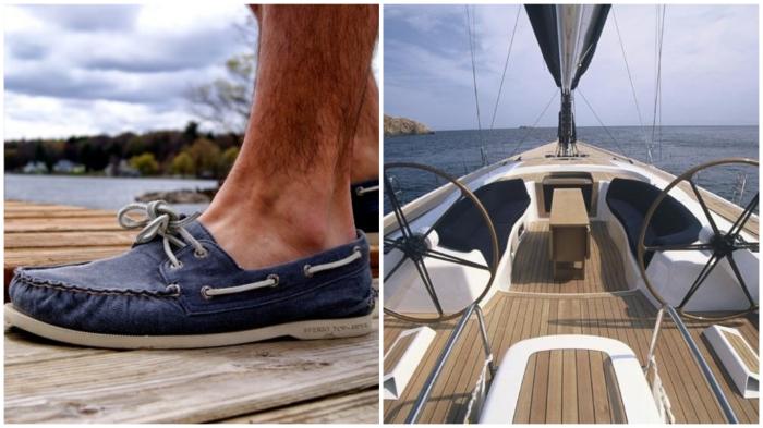 Белая подошва топсайдеров не оставит следов на палубе яхты.