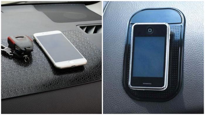 Силиконовый «автоковрик» предотвратит падение смартфона.