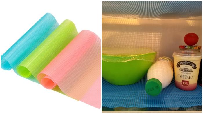 Силиконовые коврики защитят стеклянные полки холодильника от царапин.
