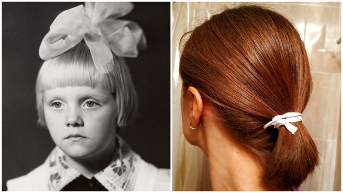 Не следует думать, что на фото слева волосы держит лишь ленточка…