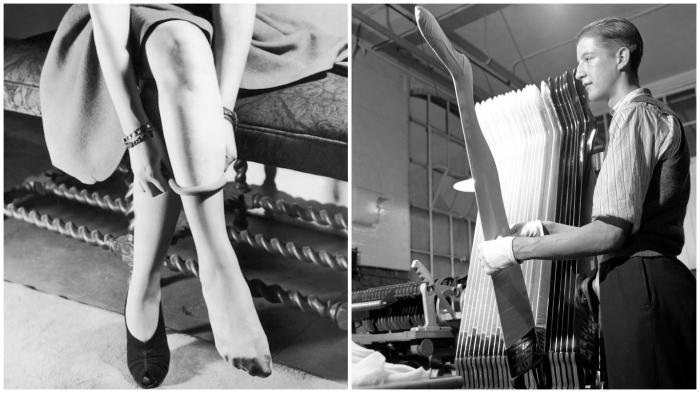 Благодаря нейлоновым чулкам женская ножка стала ещё привлекательнее.