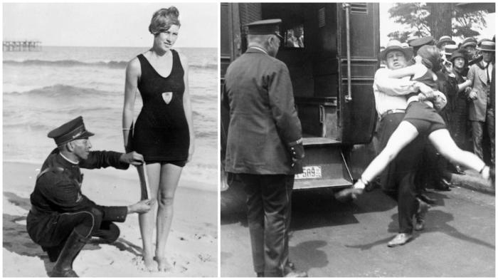 Женщины в «неприличных» купальниках должны быть арестованы! (1920-е годы, США).