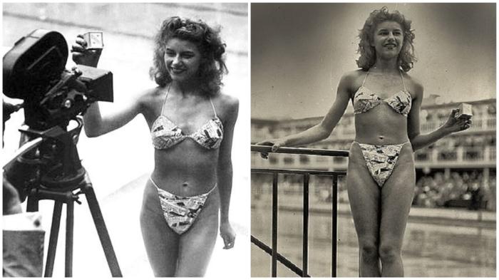 19-летняя танцовщица Мишелин Бернардини – единственная, кто согласился продефилировать в бикини (1946 год).
