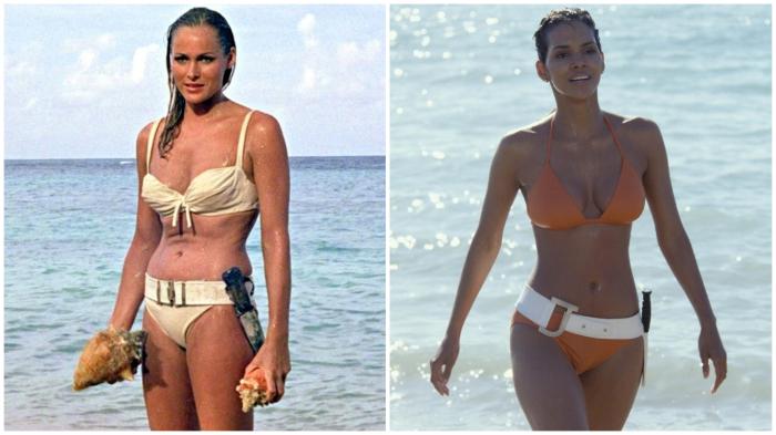 Девушки Бонда в бикини: Урсула Андерс (1962 год) и Холли Берри (2002 год).
